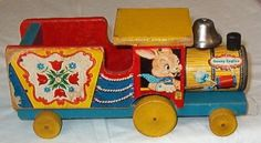 COOL-VINTAGE-1954-FISHER-PRICE-BUNNY-ENGINE-TRAIN-PULL-TOY