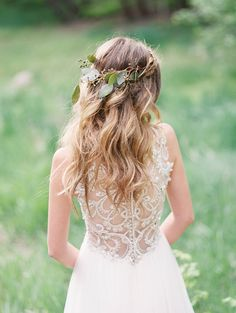 Gorgeous midsummer night's dream wedding inspiration, featuring a breathtaking beaded illusion back wedding dress, Phyllis by Maggie Sottero.