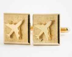 Vintage Cuff links Airplane Cufflinks Gold Tone by CuffsandClips