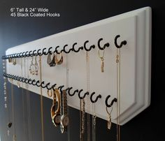 Amazon.com - 6x24-White 45-Black, Necklace Holder, Jewelry Organizer, Wall Mount Rack Display - Closet Hanging Jewelry Organizers