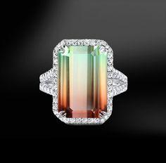 WASSERMELONEN Turmalin & DIAMOND Ring