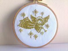 "Hand Embroidery hoop Art   ""LIttle angel ""-Mini gobelin-Cross stitch-Christmas gift-Holiday decoration. $30.00, via Etsy."