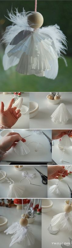 Weihnachten machen – Bastelideen selber machen – Weihnachtsengel basteln The Effective Pictures We Offer You About christmas dinner A quality picture can tell you many … Kids Crafts, Easy Crafts, Diy And Crafts, Christmas Centerpieces, Christmas Tree Decorations, Christmas Ornaments, Angel Ornaments, Diy Ornaments, Christmas Angels