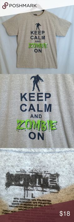 """Infinte Ink Gray """"Keep Calm and Zombie On"""" Tee Infinte Ink Gray """"Keep Calm and Zombie On"""" Tee Shirt. Gray tee shirt, Size L. 90% Cotton/10% Polyester.  Measurements: Chest 21"""", Hem Width 21"""", Length Shoulder to Hem 27"""". Infinite Ink Shirts Tees - Short Sleeve"""