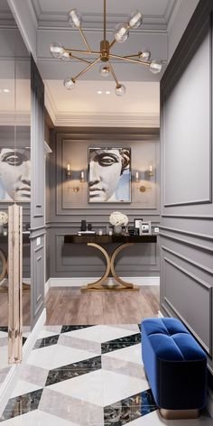 A modern entryway décor is a perfect opportunity to surprise your guests. You can create a sleek design with statement pieces or you prefer a more intimate and Corridor Design, Foyer Design, Home Room Design, Interior Design Living Room, Living Room Designs, Luxury Interior Design, Interior Architecture, Hallway Designs, Hallway Ideas