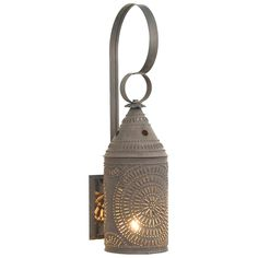 """15"""" Electrified Wall Lantern Punched Tin Light Fixture Primitive Country Farmhouse Decor Accent Light Lamp Chisel Pattern by savingshepherd on Etsy"""