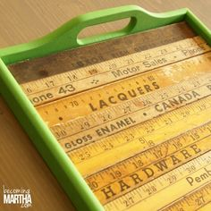 Chalk Paint and Yard Stick Serving Tray Makeover - The Simply Crafted Life - Antibes Green color of Chalk Paint® decorative paint by Annie Sloan Chalk Paint® by Annie Sloan - Paint Stir Sticks, Painted Sticks, Ruler Crafts, Diy Crafts, Paint Stick Crafts, Yard Sticks, Wooden Ruler, Chalk Paint Colors, Stick Art