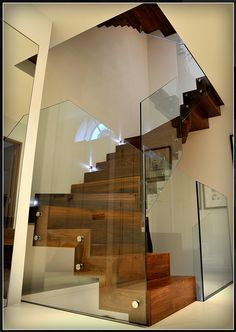 Queens Gardens Project - Wooden Staircase - Structural Glass Balustrade - Compass Collection by CSL Lighting