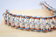 Chainmaille bracelet, Blue and orange, Silver bracelet, Cuff Bracelet, Team spirit,