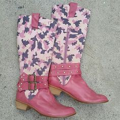 """Pink camouflage leather boot NEW! Pink All leather boot.. super cute! Has zipper on side for ease of wear. . No visible stains,  scratches. No defects. . Paid over $300.. no box or tags.. brand is Violet Tash. . No trades. . Heel height is 1 3/4"""" entire height of boot from heel to top is 15"""".. Shoes Combat & Moto Boots"""