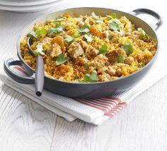 One-pan chicken couscous - onion, chicken breast, fresh ginger, harissa paste, dried apricots, chickpeas, couscous, fresh coriander, chicken stock