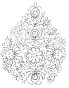 Rita Barton: Painted Hungarian Folk Art Flowers. Paint in a monochromatic colour scheme for a beautiful project or practice sheet