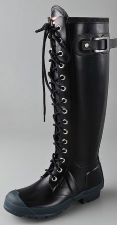 laced up hunter boots