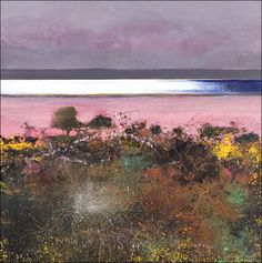 dang this is beautiful! ~Kurt Jackson-Catacol gorse and thrift :whin and sea pinks. Landscape Artwork, Abstract Landscape Painting, Seascape Paintings, Abstract Art, Kurt Jackson, St Just, Historia Natural, Pastel Art, Klimt