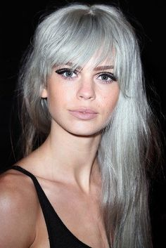 Long Silver Grey Hairstyle with Bangs