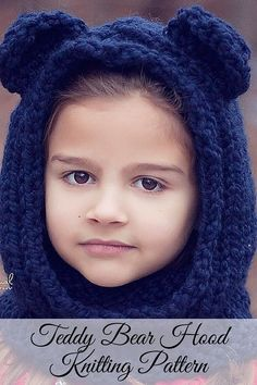 Knitting Pattern - An adorable knit bear hood pattern that's perfect for boys and girls. Fun for everyday wear during the fall and winter. Includes all sizes from baby to adult. By Posh Patterns.