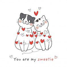 Dibuja pareja amor de gato con corazón p. Valentines Day Drawing, Valentines Day Background, Valentines Day Gifts For Her, Illustration Inspiration, Cute Illustration, Doodle Cartoon, Cat Drawing, Funny Valentine, Grafik Design