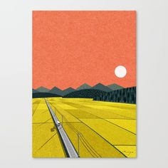 Sunset on rice field Canvas Print by Ryo Takemasa. Worldwide shipping available at Society6.com. Just one of millions of high quality products available.