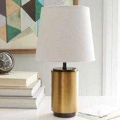 Small Pillar Table Lamp - Antique Brass