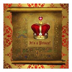 Regal Royal Red and Gold Prince Baby Shower Invite