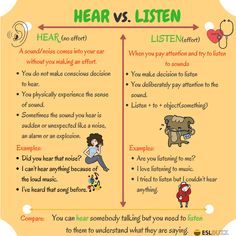 The Difference between HEAR and LISTEN in English - ESL Buzz