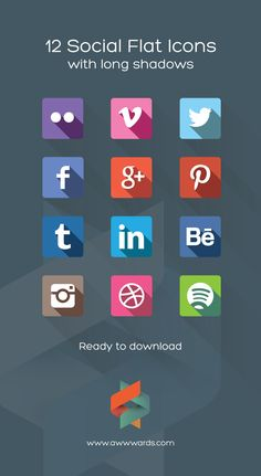Flat Icons / Flat Design / Icons Design / Icons / Pictograms / Download 12 Social Flat Icons Flat Long Shadows: Step-by-step Tutorial, Resources and Examples