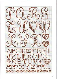 alphabet for cross stitch - pt 1 of 2 Embroidery Hearts, Blackwork Embroidery, Embroidery Alphabet, Diy Embroidery, Monogram Cross Stitch, Cross Stitch Alphabet Patterns, Stitch Patterns, Cross Stitch Samplers, Cross Stitching