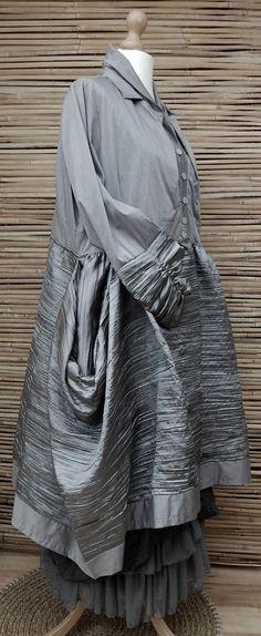 LAGENLOOK BEAUTIFUL ECCENTRIC BALLOON TAFFETA CRINKLE JACKET/COAT*SILVER*Size XL