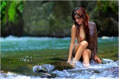 Sexy indonesian girl on river