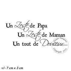 2. de 2 à 4.99 € : TAMPON UN ZESTE DE PAPA UN ZESTE DE MAMAN UN TOUT DE DOUCEUR par Meldon