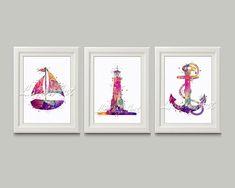 Set of 3 Nautical Prints Boat Watercolor Lighthouse Art Anchor Wall Decor Sea Wall Decor Nautical Nursery Art Boat Decor Lighthouse Print