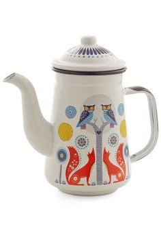 Woodland Whimsy Teapot. Like something from a fairytale, the storybook scene of forest creatures on this white teapot have captured you with their magic! #multi #modcloth