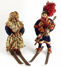 Antique Leather Faced Scandinavian Laplander Dolls On Skies Norwegian ? Sami