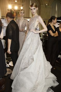 Nastya Zhidkikh backstage at Elie Saab Fall 2013 Haute Couture