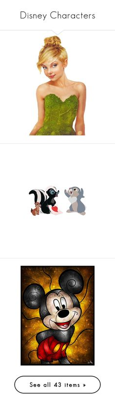 """""""Disney Characters"""" by jjulibean ❤ liked on Polyvore featuring fillers, detail, embellishment, wings, filler, fairies, accessories, animals, effects and disney"""