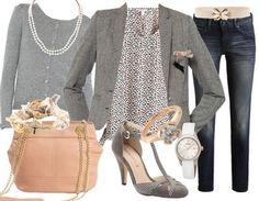 Très romantique cette tenue avec sa petite veste grise et son sac rose pastel! Venez faire un tour ici: http://stylefru.it/s283796 #tenue #mercredi #sac #veste