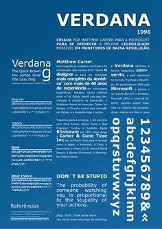 Foldable size poster about the Verdana font. Matthew Carter, Typography Design, Lettering, Type Test, Commercial Fonts, Typeface Font, Gig Poster, Logos, Book Design