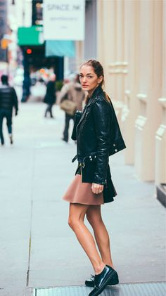 mini skirt and brogues