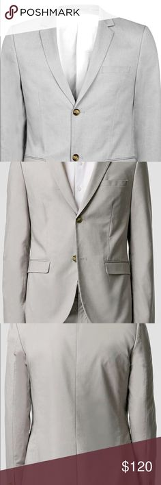 Grey Chambray Skinny Fit Blazer - 36 Brand new Topman Suits & Blazers Suits