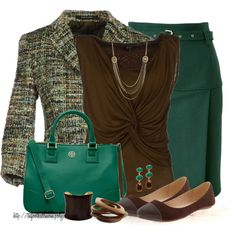 """""""Pencil Skirt and Flats"""" by tufootballmom on Polyvore"""
