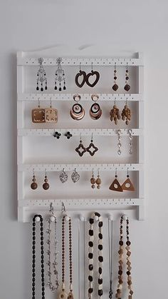 Jewelry Organizer Wall, Bracelet Holder Wood, Earring Display, Necklace Hanger, Earring Holder - business ideas for women Diy Earring Holder, Bracelet Holders, Diy Jewelry Holder, Jewelry Hanger, Earring Display, Earring Hanger, Bracelet Display, Diy Necklace Holder, Diy Necklace Organizer