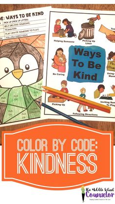 Winter Themed Color By Code: Ways to be kind Character Education Lessons, Education And Development, Elementary School Counselor, Elementary Schools, School Counsellor, Bullying Prevention, International School, Random Acts, Social Work