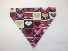 Pet Bandana - Valentine's Day Heart Squares - Over the Collar - Custom by HemptressDesigns on Etsy