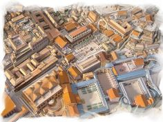 Ancient Roman City - aerial view MFW Rome to Reformation week 2 Ancient Rome, Ancient Greek, Ancient History, Roman Architecture, Historical Architecture, Roman Garden, Rome Antique, Roman Forum, Roman City