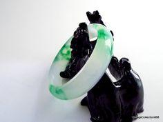 Pulsera de Jade hielo translúcida y flores verdes 62mm. de Vintagecollection888 en Etsy
