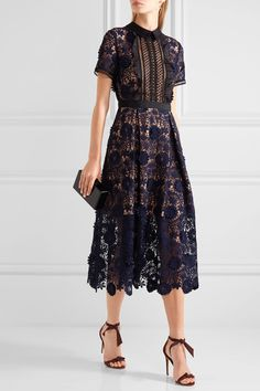 Navy and black guipure lace, black chiffon and twill Zip fastening along back 97% polyester, 11% polyamide; lining: 97% polyester, 3% spandex Dry clean Imported