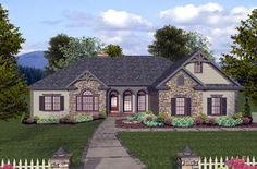 House Plan 74812 | Craftsman Ranch Plan with 2000 Sq. Ft., 4 Bedrooms, 3 Bathrooms, 3 Car Garage at family home plans