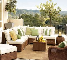 Fresh Outdoor Garden Furniture By Pottery Barn With Balcony Furniture And Plants On Small Garden Balcony Caribbean Living Room Design Ideas Balcony Furniture, Modern Outdoor Furniture, Rattan Furniture, Outdoor Rooms, Outdoor Living, Outdoor Decor, Rattan Chairs, Outdoor Couch, Furniture Ideas