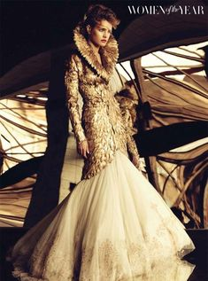 Alexander McQueen Fall 2010 Gold Feather Coat and Embroidered Tulle Skirt