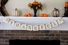 Thankful Banner Thanksgiving Banner Thanksgiving by OneTinyHeart